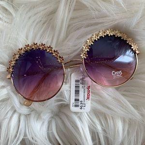 Sam Edelman Round Mirrored Gold Sunglasses Circus